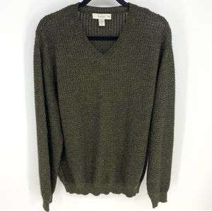 Turnbury Mens Large Green 100% Baby Alpaca V-Neck Pullover Sweater Waffle Knit